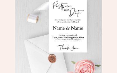 Free Editable Wedding Postponement Card | Wedding Wednesday